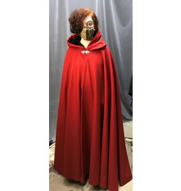 Cloak and Dagger Creations 4303 - Full Circle Cloak in Madder Red Melton Black Hood Lining, Pewter Clasp