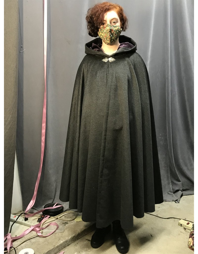 Cloak and Dagger Creations 4307 - Grey Wool Blend Full Circle Cloak, Purple Hood Lining, Pewter Clasp