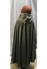 Cloak and Dagger Creations 4308 - Gray Woolen Full Circle Cloak, Purple Hood Lining, Pewter Clasp