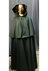 Cloak and Dagger Creations 4309 - Green Washable Cloak w/Mantle, Velvet Hood Lining, Dragon Clasp