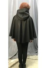 Cloak and Dagger Creations 4315 - Shorter Black Winter Full Circle Wool Cloak, Purple Hood Lining, Pewter Clasp