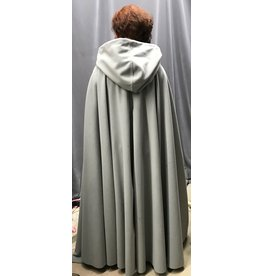 Cloak and Dagger Creations 4319 - Washable Grey Fleece Full Circle Long Cloak, Unlined Hood, Pewter Vale Clasp