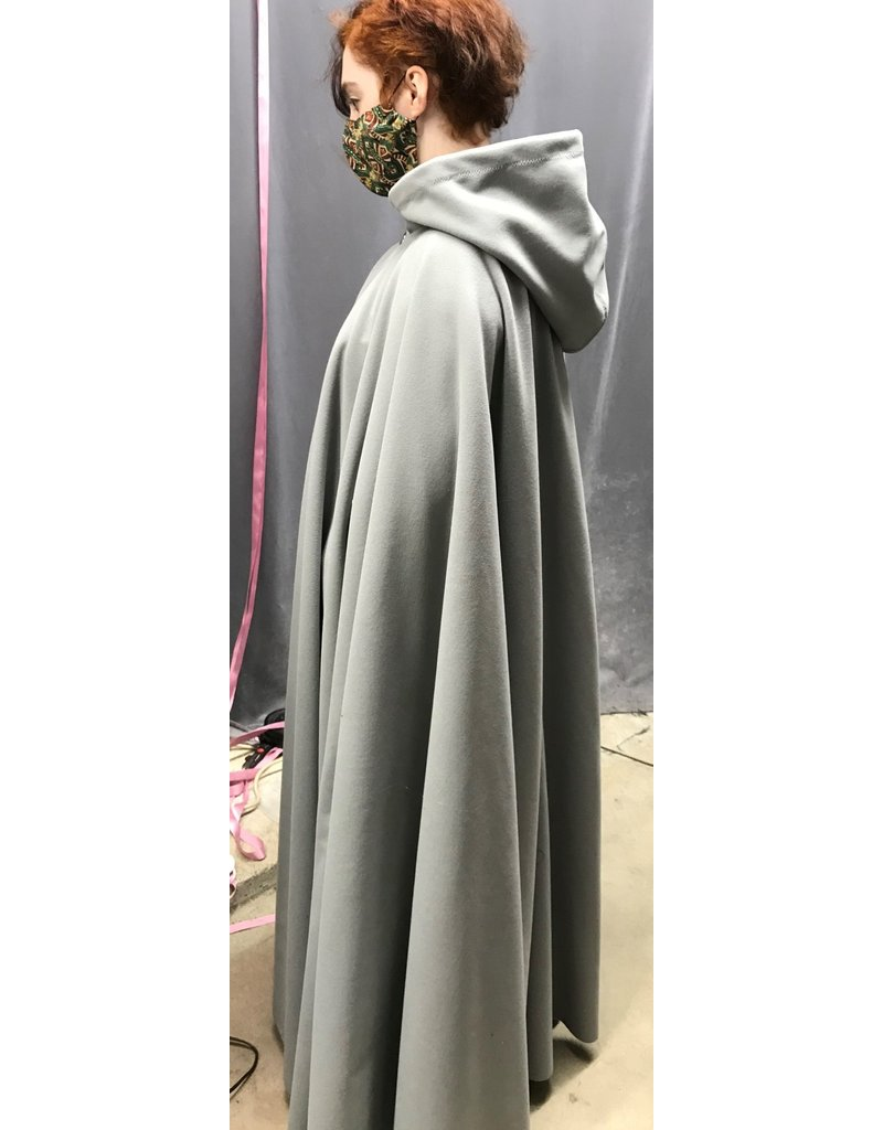Cloak and Dagger Creations 4319 - Light Grey Windbloc Fleece Full Circle Cloak,  Easy care,Unlined Hood, Pewter Vale Clasp