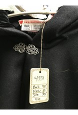 Cloak and Dagger Creations 4331 - Black Winter Ruana Style Cloak, Black Hood Lining, Pewter Clasp