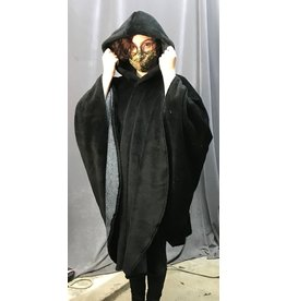 Cloak and Dagger Creations 4332 -  Easy Care Black Minky Fleece Ruana-Style Cloak, Unlined Hood, Snap Closure