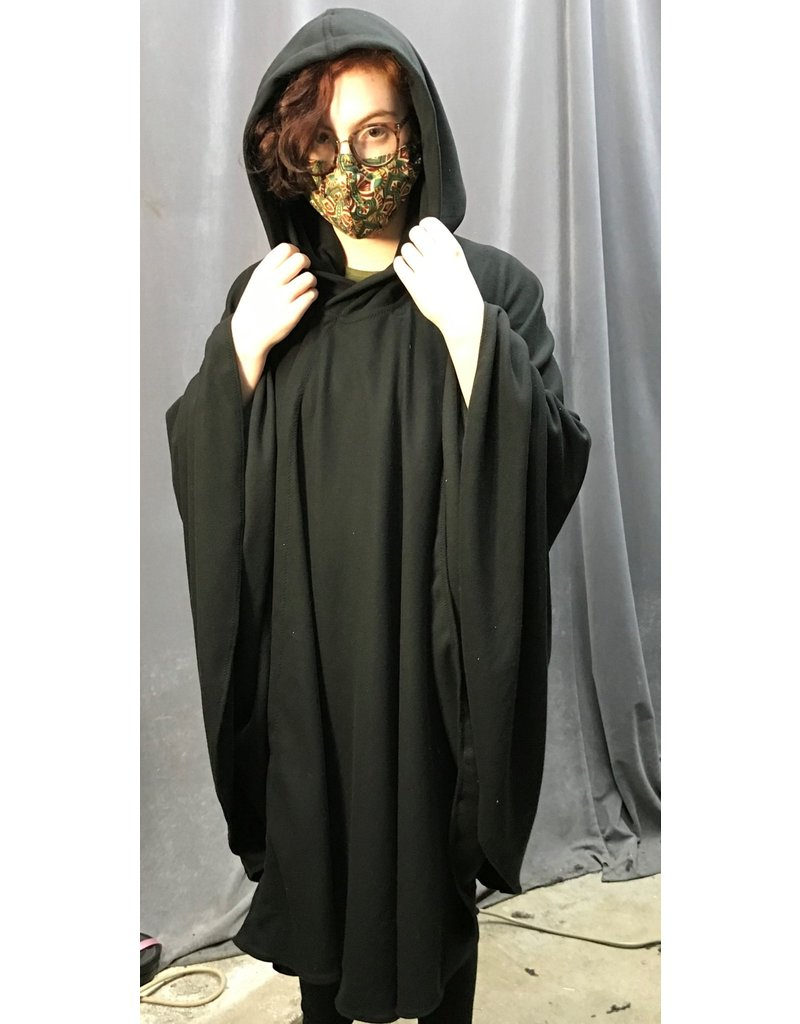 Cloak and Dagger Creations 4333 - Easy Care Black Wrap-Front Full Circle Cloak, Unlined Hood, Double Snap Closure