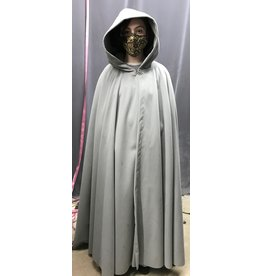 Cloak and Dagger Creations 4321 - Washable Long Grey Fleece Full Circle Cloak, Unlined Hood, Pewter Vale Clasp