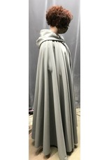Cloak and Dagger Creations 4321 -Light Grey Windbloc Fleece Full Circle Cloak,  Easy care,Unlined Hood, Pewter Vale Clasp