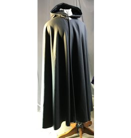 Cloak and Dagger Creations 4323 -  Long Grey Winter Full Circle Cloak, Black Hood Lining, Pewter Clasp