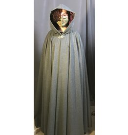 Cloak and Dagger Creations 4326 - Heathered Grey Full Circle Cloak,Wine  Hood Lining, Pewter Clasp