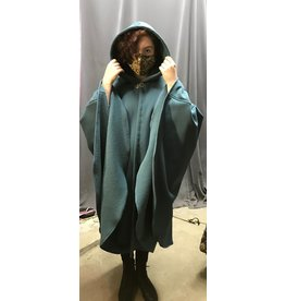 Cloak and Dagger Creations 4327 - Dusty  Teal Blue Shaped Shoulder Ruana-style Cloak, Pewter Clasp
