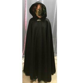 Cloak and Dagger Creations 4328 - Extra Long Black Winter Woolen Cloak, Green Hood Lining, Pewter Clasp