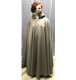 Cloak and Dagger Creations 4339 - Grey Taupe Brushed Wool Long Full Circle Cloak, Green Hood Lining, Pewter Clasp