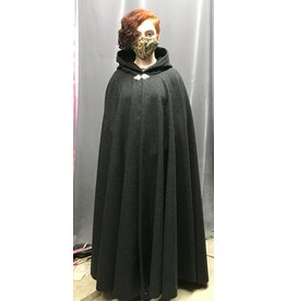 Cloak and Dagger Creations 4336 - XL Charcoal Grey Full Circle Cloak, Black Hood Lining, Pewter Clasp
