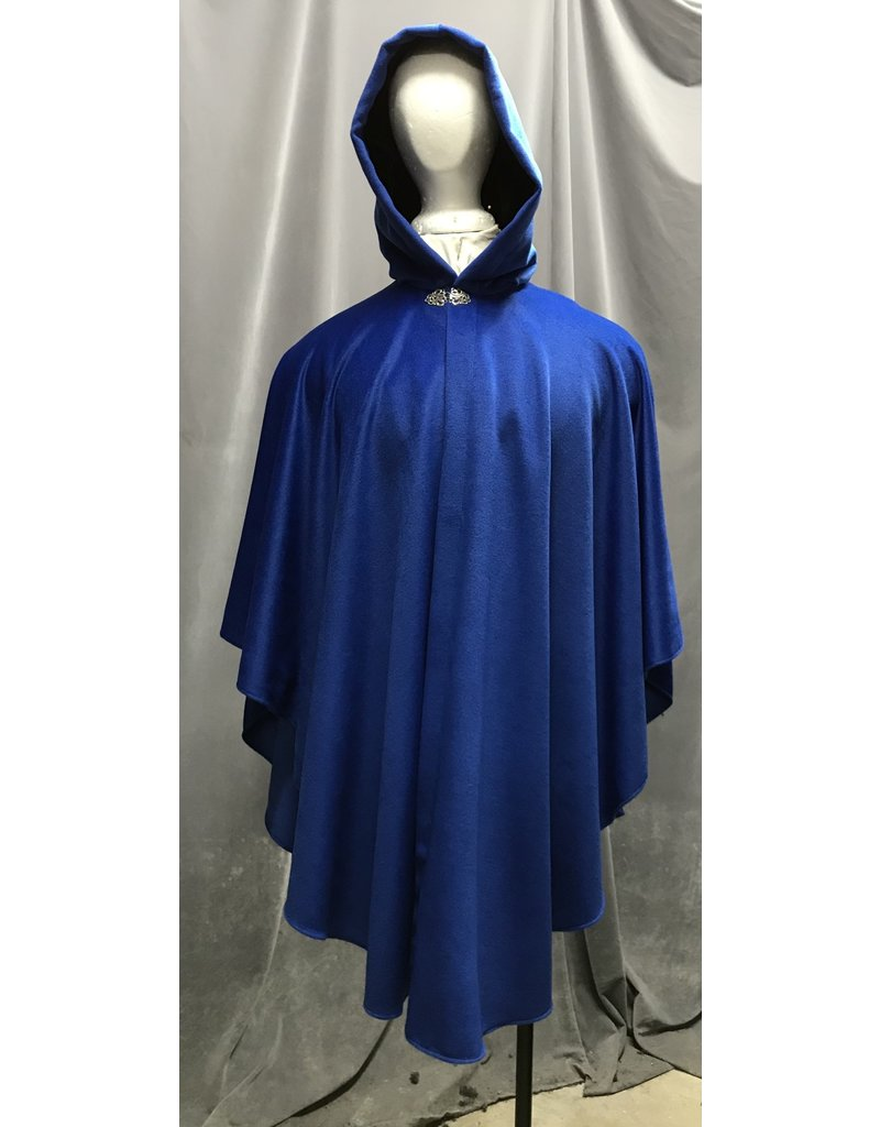 Cloak and Dagger Creations 4282 - Cloak in Blue Wool Blend, Black Hood Lining, Pewter Vale Clasp