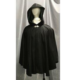 Cloak and Dagger Creations 4253 - Winter Ruana-Style Cloak in Black Wool Blend, Green Hood Lining