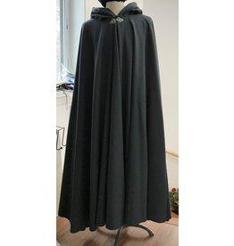 Cloak and Dagger Creations 4318 - Grey Woolen Long Full Circle Cloak, Deep Blue Hood Lining, Pewter Triple Medallion Clasp