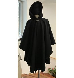 Cloak and Dagger Creations 4331 - Black Winter Ruana Style Cloak, Black Hood Lining, Pewter Clasp