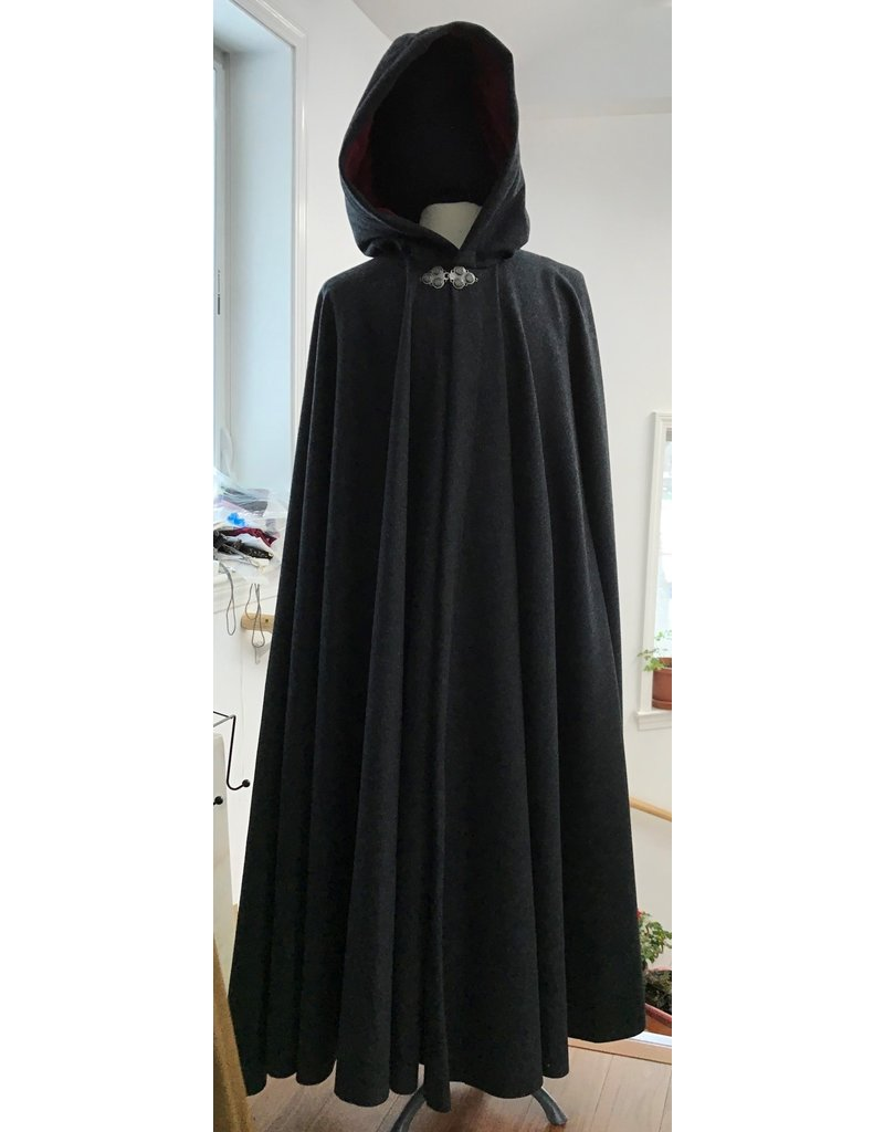 Cloak and Dagger Creations 4334 - Charcoal Grey Long Full Circle Wool Blend Cloak, Red Hood Lining, Pewter Clasp