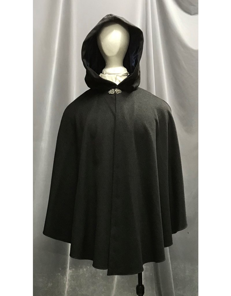 Cloak and Dagger Creations 4274 – Winter Ruana Cloak in Charcoal Gray Wool, Shaped Shoulder Blue Hood Lining, Pewter Vale-Style Clasp