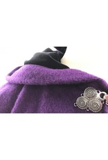 Cloak and Dagger Creations 4266 - Winter Cloak in Grape Wool, Fully Lined, Black Hood Lining