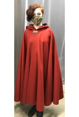 Cloak and Dagger Creations 4341 - Madder Red Full Circle Cloak, Black Hood Lining, Pewter Clasp