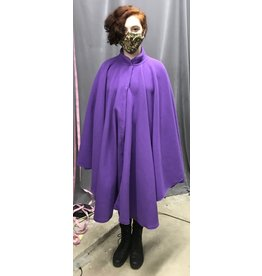 Cloak and Dagger Creations 4344 - Easy Care  Purple Fleece Full Circle Ruana-style Cloak w/Collar, Hidden Snap Closure