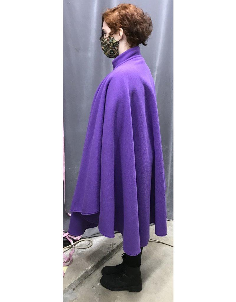 Cloak and Dagger Creations 4344 - Easy Care  Purple Fleece Full Circle Ruana-style Cloak w/Collar, Hidden Snap Closure