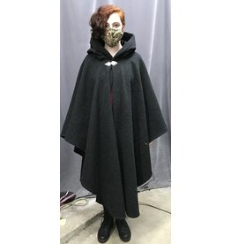 Cloak and Dagger Creations 4342 - Easy Care Charoal Grey Wool Ruana-style Cloak, Black Hood Lining, Pewter Clasp