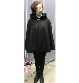 Cloak and Dagger Creations 4289 - Shaped Shoulder Cloak in Black Wool w/Pockets & Purple Hood
