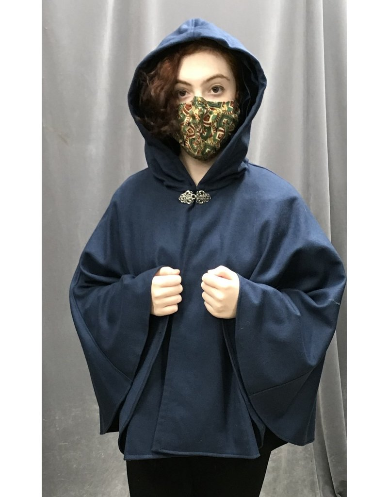 Cloak and Dagger Creations 4288 - Short Cloak in Blue Wool Blend w/Dark Blue Hood, Pewter Clasp
