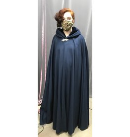 Cloak and Dagger Creations 4286 - Cloak in Blue Wool Blend w/Blue Lined Hood, Pewter Clasp