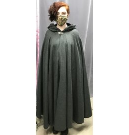 Cloak and Dagger Creations 4281 - Cloak in Grey Evenweave, Black Hood Lining, Pewter Vale Clasp