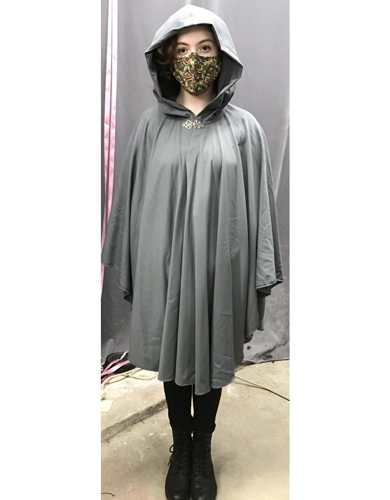 Cloak and Dagger Creations 4297 - Easy-Care Grey Ruana-Style Cloak, Unlined Hood, Pewter Clasp