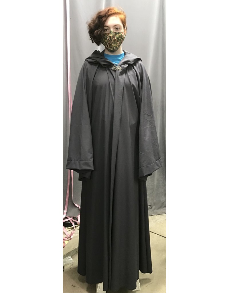 Cloak and Dagger Creations R479 - Easy Care Cool Grey XL Gandalf Robe w/Pockets, Pewter Vale Clasp