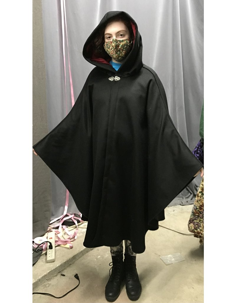 Cloak and Dagger Creations 4350 - Black Shaped Shoulder Ruana-Style Cloak, Red Hood Lining, Pewter Clasp