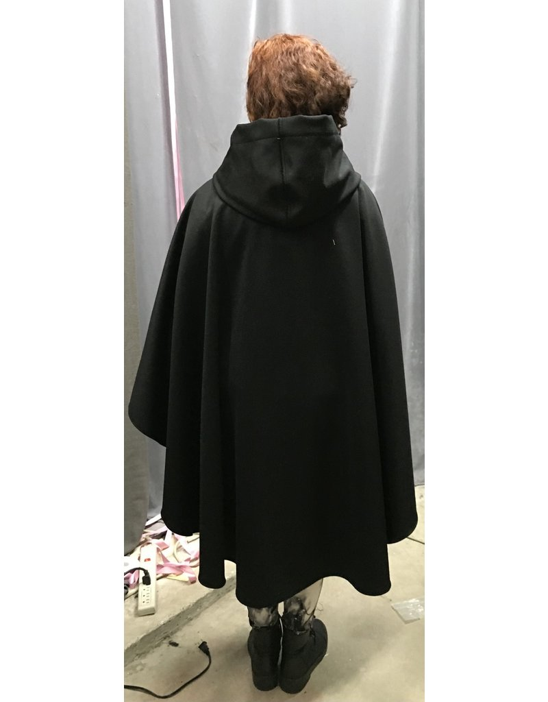 Cloak and Dagger Creations 4349 - Black Wool Cashmere Blend Ruana-Style Cloak, Purple Hood Lining, Pewter Clasp