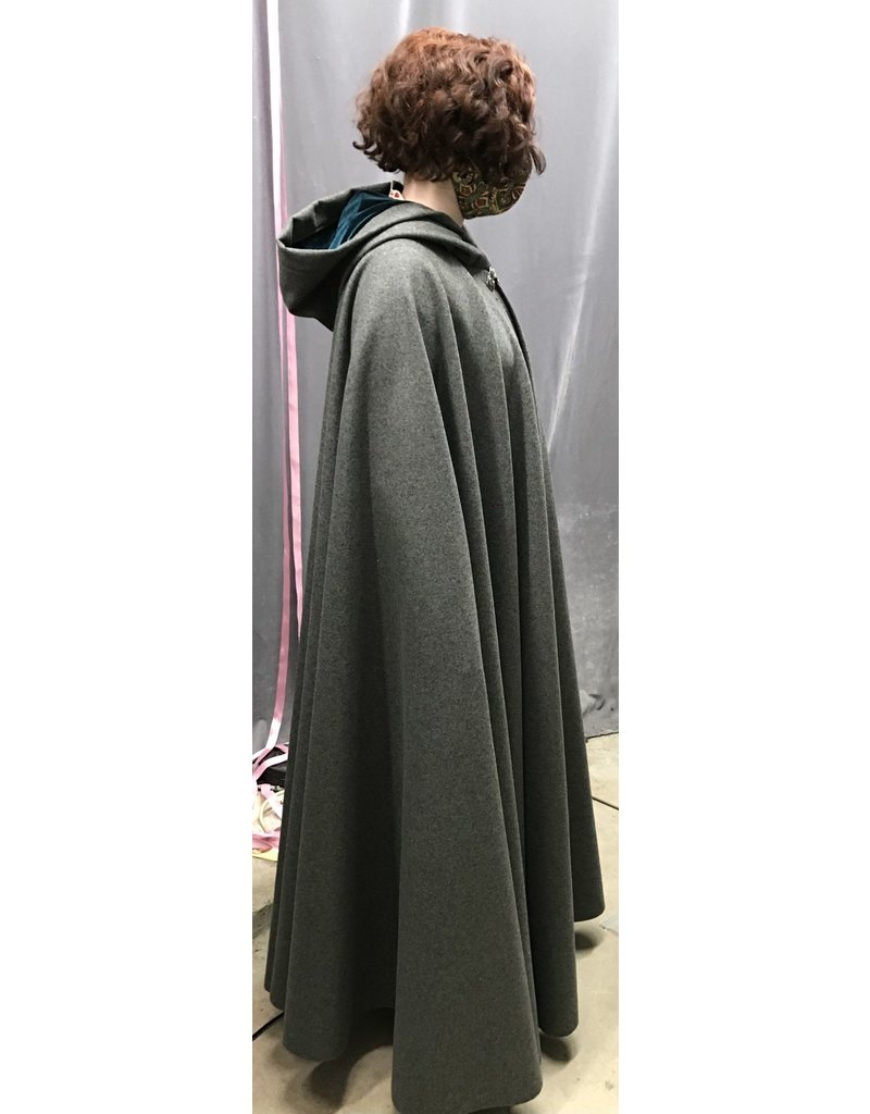 Cloak and Dagger Creations 4348 - Heathered Grey Long Full Circle Cloak, Teal Hood Lining, Pewter Clasp