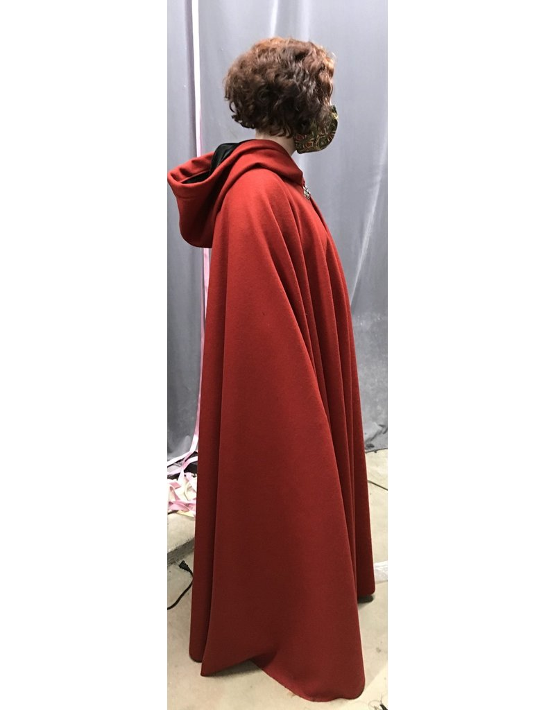 Cloak and Dagger Creations 4347 - Madder Red Woolen Long Winter Full Circle Cloak, Black Hood Lining, Pewter Clasp