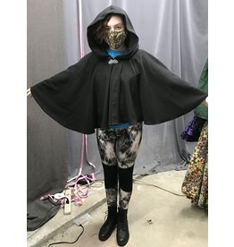 Cloak and Dagger Creations 4346 - Easy Care Short Black Windpro Fleece Full Circle Cloak, Unlined Hood, Pewter Clasp