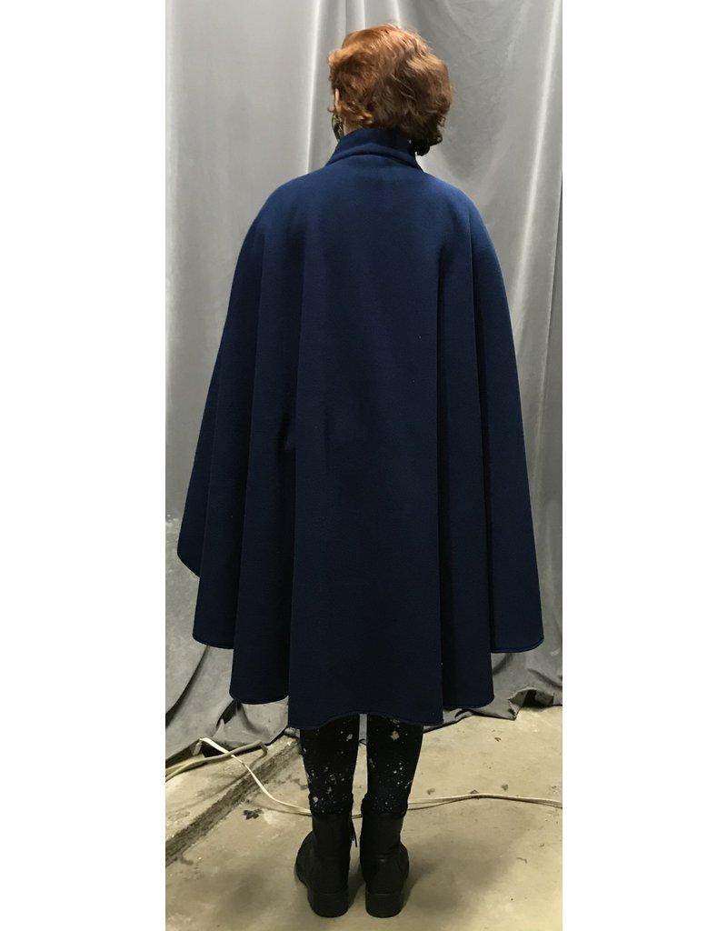 Cloak and Dagger Creations 4352 - Easy Care Admiral Blue Fleece Ruana-Style Collared Cloak w/Hidden Snap Closure