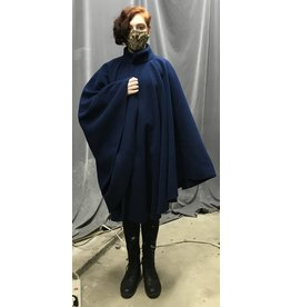 Cloak and Dagger Creations 4352 - Easy Care Admiral Blue Fleece Ruana-Style Collared Cloak w/Hidden Snap Closure