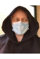 Cloak and Dagger Creations H283 - Easy Care Black Hooded Cowl in 100% Wool Crepe
