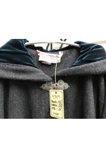 Cloak and Dagger Creations 4355 - Washable Charcoal Grey Ruana-Style Cloak w/Teal Hood Lining, Pewter Clasp