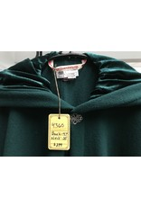 Cloak and Dagger Creations 4360 -Easy Care Green Woolen Full Circle Cloak, Green Hood Lining, Pewter Clasp