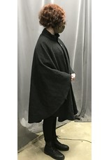 Cloak and Dagger Creations 4357 - Washable Charcoal Grey Woolen Ruana-style Cloak, Lined Collar, Pewter Buttons
