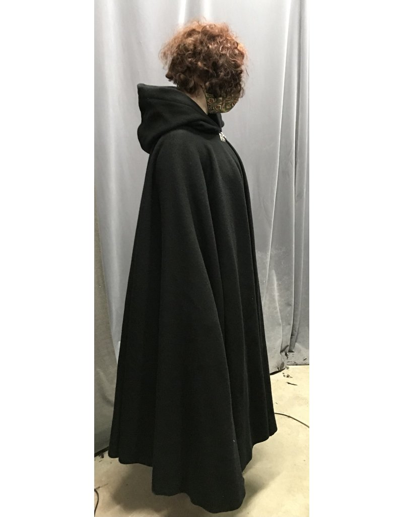 Cloak and Dagger Creations 4358 - Easy Care Black Woolen Cloak, Black Hood Lining, Pewter Clasp