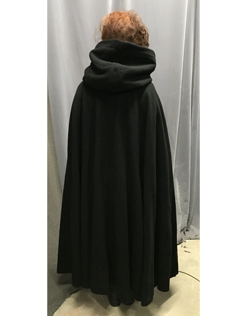 Cloak and Dagger Creations 4359 - Easy Care Black Cloak, Full Circle Wool Blend w/ Blue Hood Lining, Pewter Clasp