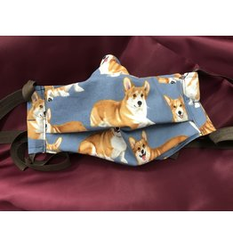 Cloak and Dagger Creations 3-Layer Pleated Mask - Corgi - Cotton & Silk