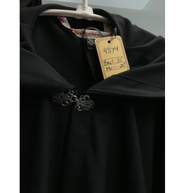 Cloak and Dagger Creations 4374 - Black Lightweight Wool Full Circle Cloak, Unlined Hood, Pewter Clasp